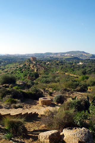 ヘラ神殿からコンコルディア神殿を振り返るinアグリジェント