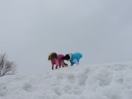 雪山の上で