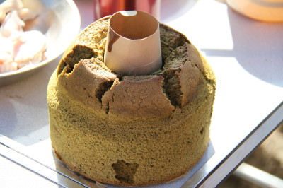 かみんママお手製の抹茶のシフォンケーキ