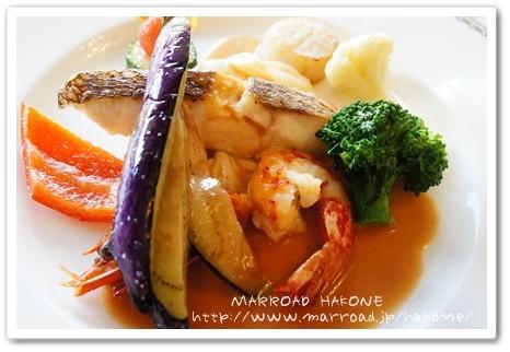 魚料理は 帆立と真鯛