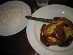 鶏もも肉黄身焼きロースト、アスパラのソテー添え