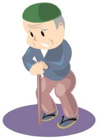 老人の歩行。