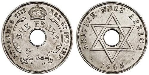 西アフリカ ペニー白銅貨 1945年