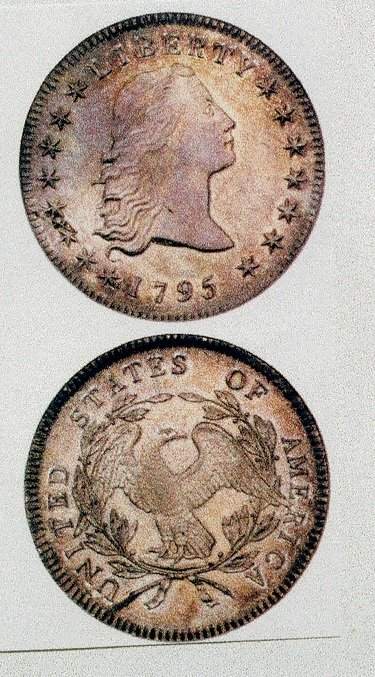 アメリカ1ドル銀貨1795年初期のアメリカのコインは、極印の浅彫りのものばかり