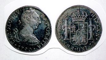 メキシコ 8レアル銀貨 1790年 カルロス4世肖像はカルロス3世