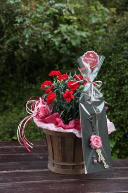 【母の日ギフト】天然石の造花バッグチャーム(アンティーク:インカローズ)+カーネーション鉢