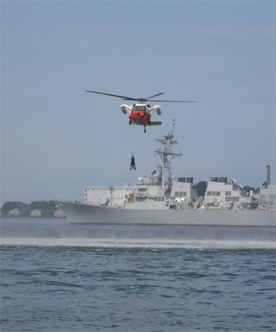 ヘリコプター救難展示