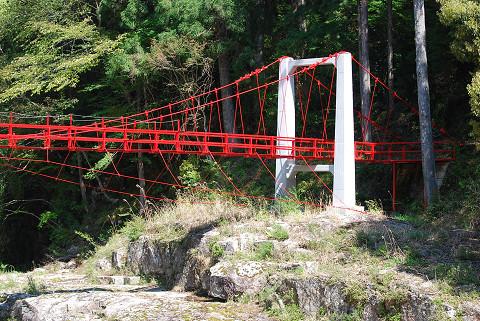 赤い吊り橋が