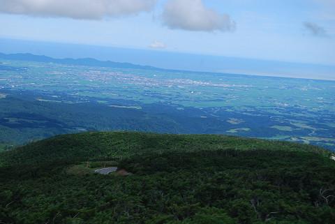 鶴岡の街を望む