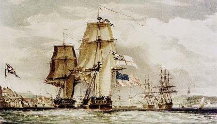 1813 H.M.S Shannon leads U.S.S Chesapeake into Halifax Harbor