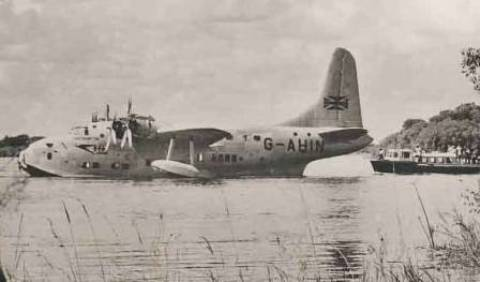BOAC Flying Boat on Zambesi River
