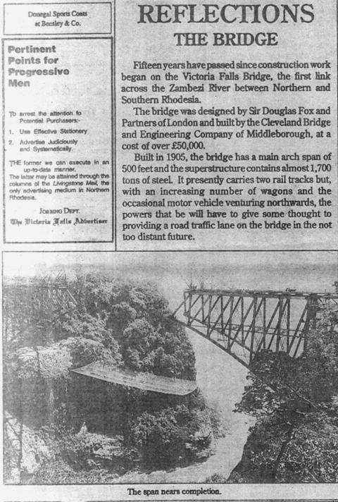 Victori Falls Advertizer March 19,1920 Victoria Falls Bridge