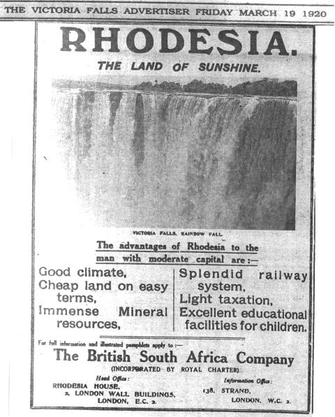 Rhodesia Advertisement Mar 19,1920