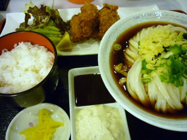 カキフライセット(うどん大)