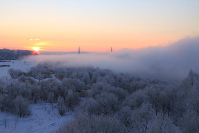 032日の出と霧氷