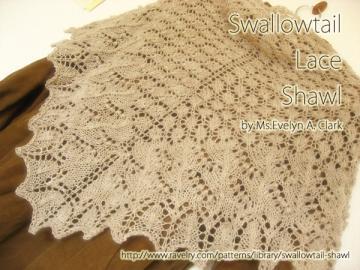 Swallowtail Lace Shawl できました♪