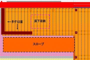 ウッドデッキ第2期板貼り図