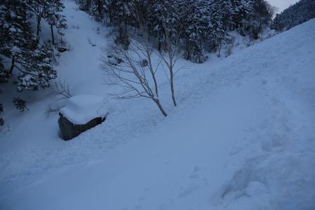 滝谷からすぐの場所で雪崩痕