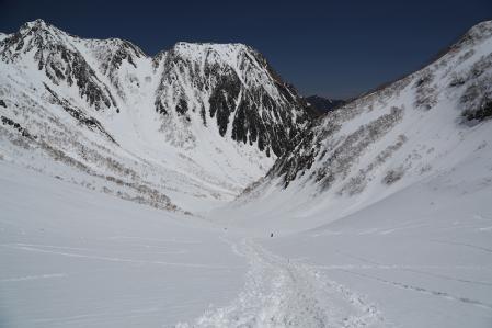 槍沢を下る。雪が柔らかくてシリセードが滑らん。。。