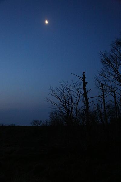 月を見ながら出発
