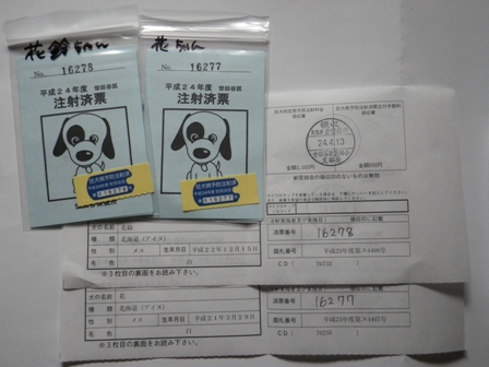2012.4.13 狂犬病注射済票