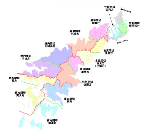 奄美大島の歴史的地域区分地図
