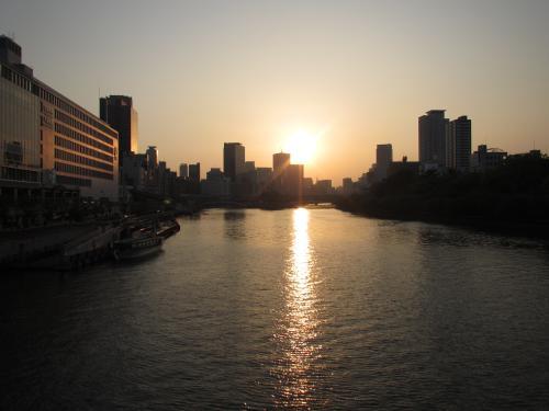 中之島の夕陽