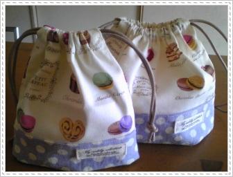 お弁当袋&コップ袋(マカロン)