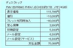 ネゴ価格(FMV ESPRIMO FH54JD)