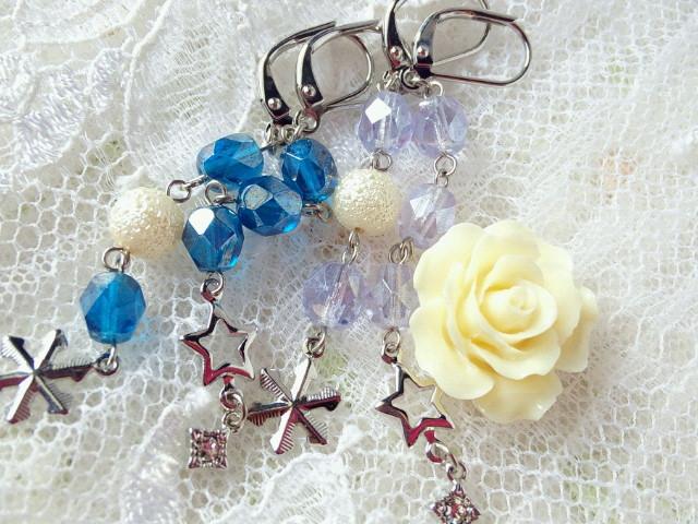 星と雪の結晶とラスターFPのフレンチフックピアス2