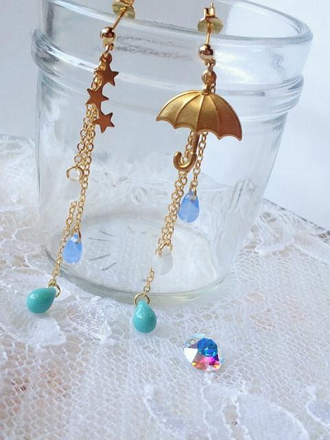 星と傘と雫のキャッチピアス1