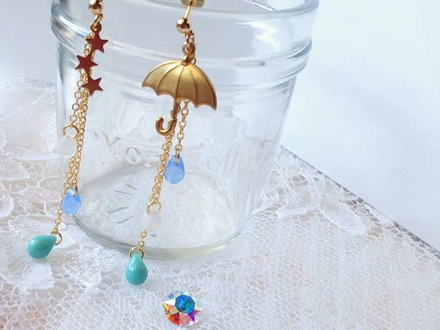 星と傘と雫のキャッチピアス2