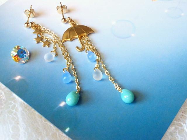 星と傘と雫のキャッチピアス3