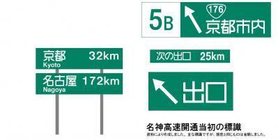 初期の名神高速の標識(抜粋)