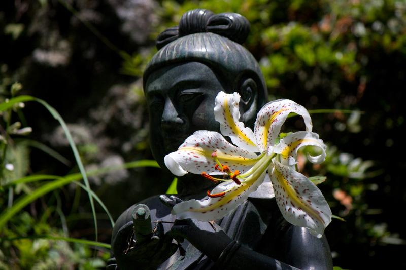 仏像とヤマユリ
