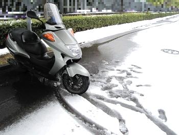 駐車場に辿り着いたスクーター