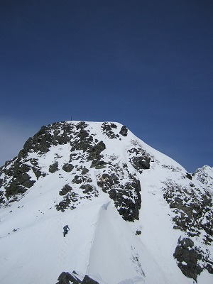 西穂独標の雪壁。