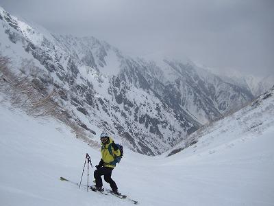 針ノ木雪渓2250m地点にて。