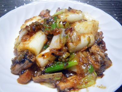 葱の味噌炒め