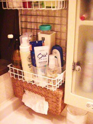 洗面所のワイヤーカゴ収納 設置完了2