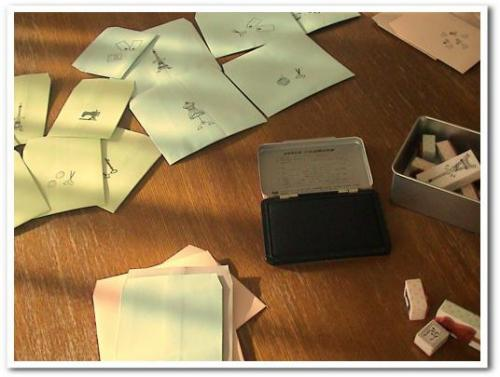 ミニ封筒製作中(^^)フレーム500