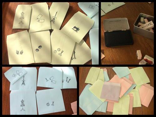 セリアのスタンプを活用する 封筒リメイク編コラージュ500