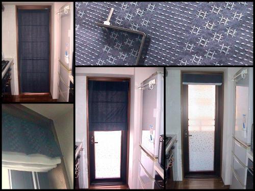 キッチンのシェード風カーテン完成コラージュ500