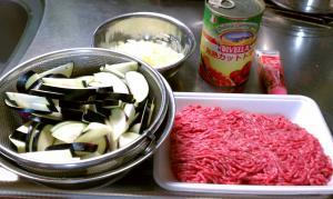 茄子とひき肉とトマトのパスタ ①