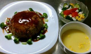 ミートローフ&サラダ&スープ♪