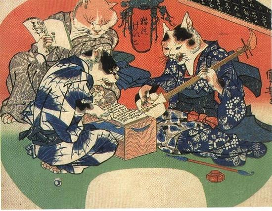 772px-Japanese_traditional_furry_art1 『猫のけいこ』 天保12年(1841年)。戯画。団扇絵。着物の柄は、師匠は鈴・小判・猫の足跡・目刺が放射線状に並び、裾から覗く裏地はスルメ。手前の弟子はふかひれ、奥は蛸の絞りと猫の好物尽くしである。