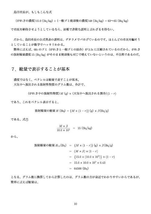 静岡県島田市の汚染がれき焼却による  がれきのベクレル表示の不正ポイント10