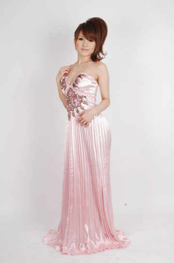 アジアンプリーツ魅惑の ロングドレス