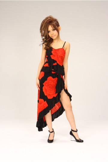 キャミ&スリット☆フリル2P ミディアムドレス
