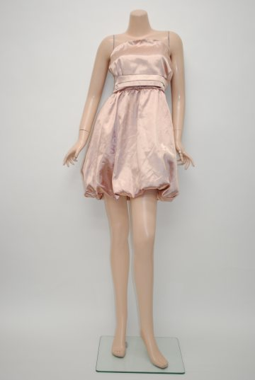 光沢サテンバルーンスカート背中シャーリング ショートドレス